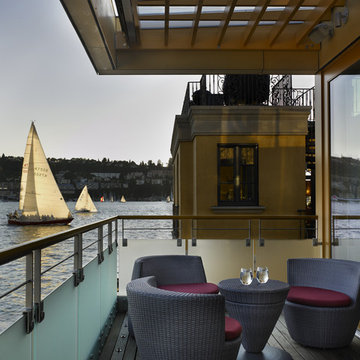 Lake Union Floating Home: Living Room Deck