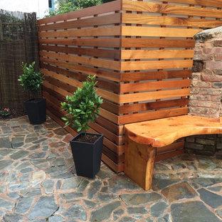 Esempio di un piccolo patio o portico minimalista in cortile con pavimentazioni in pietra naturale e nessuna copertura