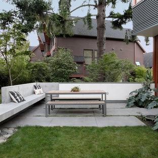Immagine di un patio o portico minimal di medie dimensioni e dietro casa con nessuna copertura e pavimentazioni in cemento