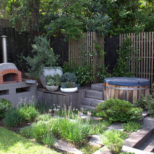 Inspiration for a contemporary backyard patio in Sydney with with fireplace and no cover.