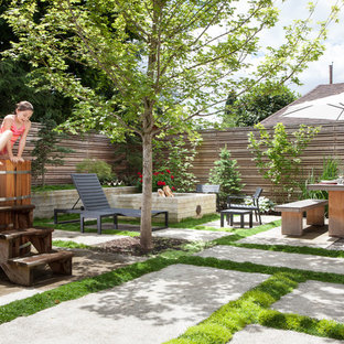 Inspiration for a small modern backyard concrete paver patio remodel in Portland with a fire pit