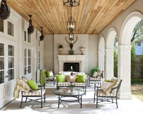 Example Of A Large Classic Side Yard Patio Design In Dallas With A Fire  Feature,