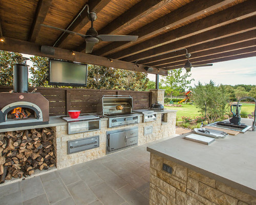 Lovely Large Elegant Backyard Stone Patio Kitchen Photo In Dallas With A Roof  Extension