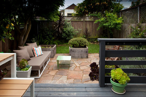Transitional Patio by Margot Hartford Photography