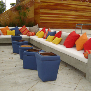 Example of a mid-sized trendy concrete patio design in Los Angeles with no cover