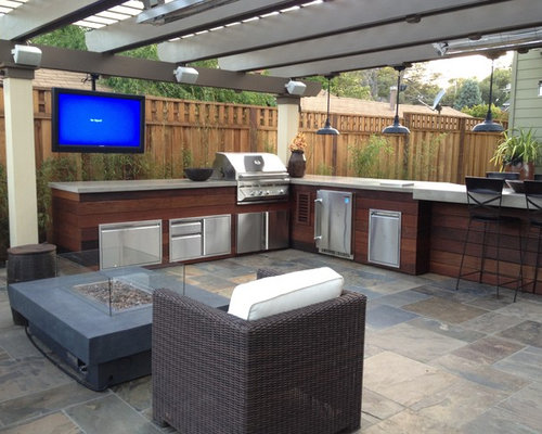 Inspiration For A Contemporary Patio Kitchen Remodel In San Francisco
