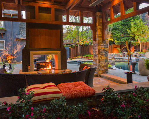 Double Sided Outdoor Fireplace Photos - Best Double Sided Outdoor Fireplace Design Ideas & Remodel