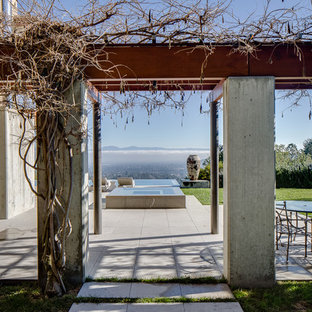Large trendy side yard concrete paver patio photo in San Francisco with a pergola