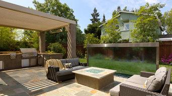 Louvered Pergola and Custom Water Wall in Palo Alto