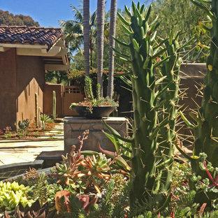 Esempio di un grande patio o portico stile americano dietro casa con un giardino in vaso e pavimentazioni in pietra naturale