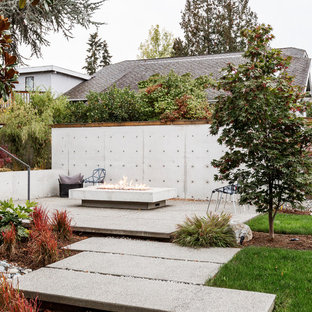 Example of a midcentury modern concrete patio design in Seattle with no cover
