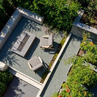 Foto di un patio o portico moderno di medie dimensioni e dietro casa con un focolare, graniglia di granito e un tetto a sbalzo