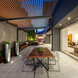 Immagine di un patio o portico design in cortile e di medie dimensioni con una pergola e un giardino in vaso