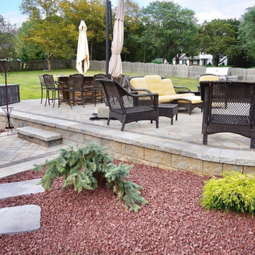 Manalapan, NJ: Raised paver patio, Hot tub, Fire pit, Landscaping