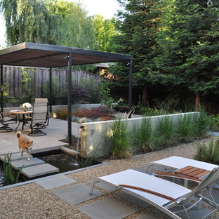 Inspiration for a modern patio fountain remodel in San Francisco with a pergola