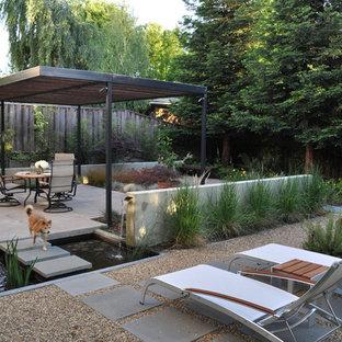 Exemple d'une terrasse moderne avec une pergola et un point d'eau.