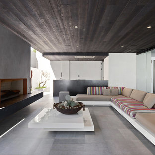 Contemporary patio in Perth with tile, a roof extension and with fireplace.
