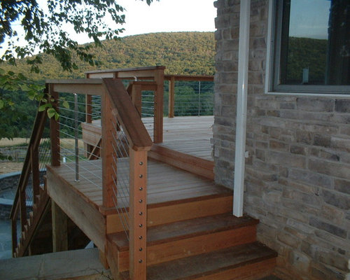 rustic contemporary stairs maryland country home rusticmodern cable railing