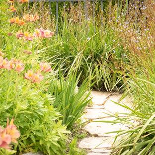Immagine di un patio o portico mediterraneo dietro casa con un giardino in vaso, pavimentazioni in pietra naturale e nessuna copertura