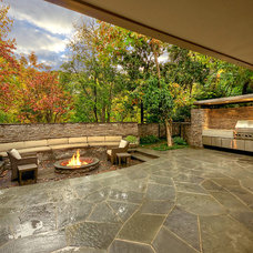 Midcentury Patio by Harold Leidner Landscape Architects
