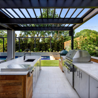 Example of a mid-sized trendy backyard patio design in Dallas with a fire pit and a roof extension