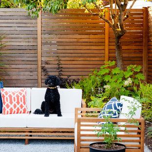 Design ideas for a midcentury patio in Seattle with no cover and gravel.