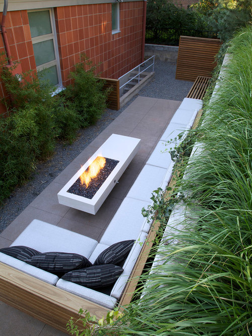 Long fire pit home design ideas pictures remodel and decor - Small backyard fire pit ideas ...