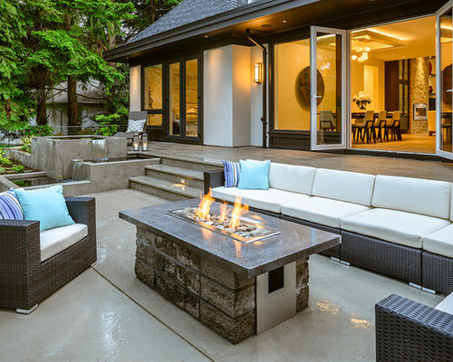Trendy Patio Photo In Vancouver With A Fire Feature