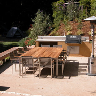 Patio kitchen - mid-sized modern backyard decomposed granite patio kitchen idea in San Francisco