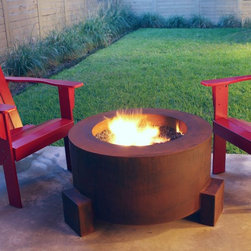 Mini-Round Outdoor Fire Pit - Mini-round steel outdoor fire pit is 36'' in diameter.