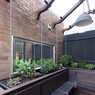Esempio di un piccolo patio o portico industriale in cortile con un giardino in vaso, pedane e una pergola