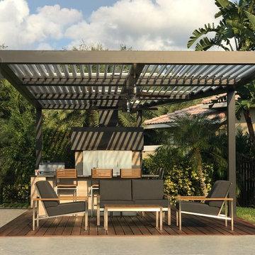 Modern Altimate Pergola over outdoor kitchen, chimney, ceiling fans, LED Lights