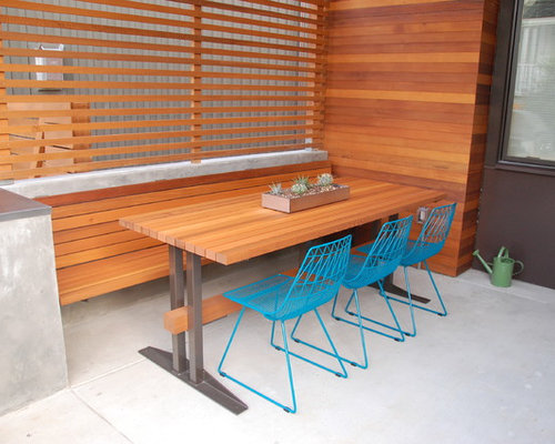 Modern Outdoor Trestle Tables : Small Concrete Patio