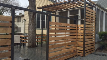"""Modern composite decking, 2"""" steel posts w/ cedar fencing and canopy"""