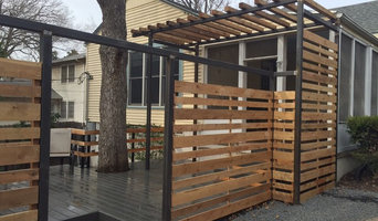 "Modern composite decking, 2"" steel posts w/ cedar fencing and canopy"