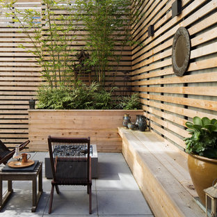 Inspiration for a zen concrete paver patio remodel in San Francisco with a fire pit and no cover