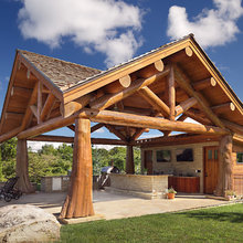 log home patio
