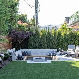 Foto di un patio o portico contemporaneo dietro casa e di medie dimensioni con un focolare, nessuna copertura e lastre di cemento