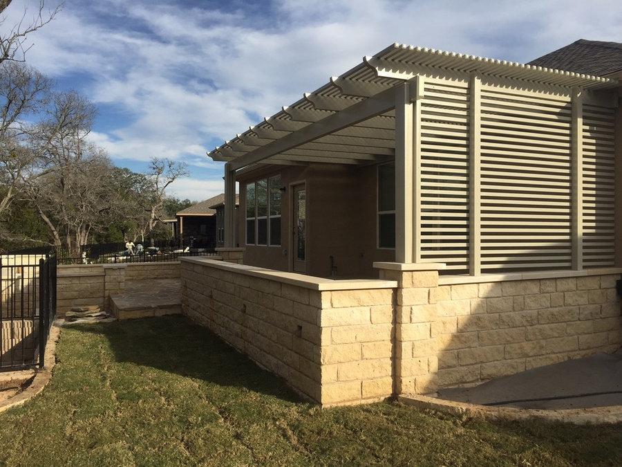 Modern flagstone patio w/ Alumawood canopy & privacy slats