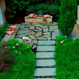 Example of a trendy stone patio design in Chicago with no cover