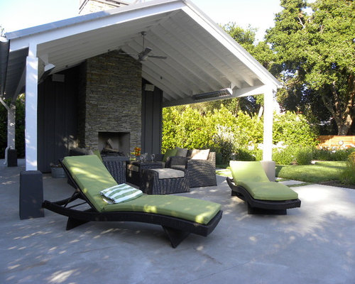 Inspiration For A Contemporary Patio Remodel In San Francisco With A Fire  Feature, Concrete Slab