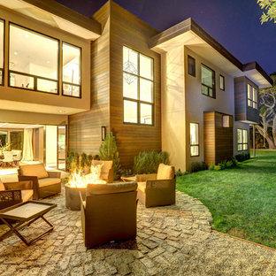 Ispirazione per un grande patio o portico contemporaneo nel cortile laterale con un focolare, pavimentazioni in cemento e nessuna copertura