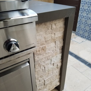 Inspiration for a large modern backyard patio kitchen remodel in Orange County