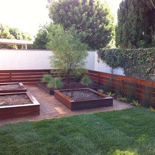Foto de patio minimalista, de tamaño medio, sin cubierta, en patio trasero, con huerto y losas de hormigón