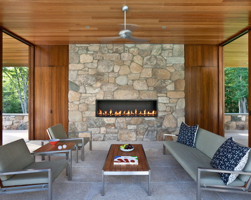 Linear gas fireplace houzz for Linear fireplace ideas