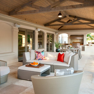 Patio kitchen - transitional patio kitchen idea in Dallas with a roof extension