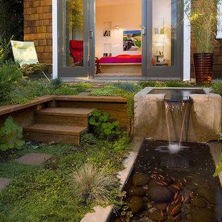 Modelo de patio contemporáneo con fuente