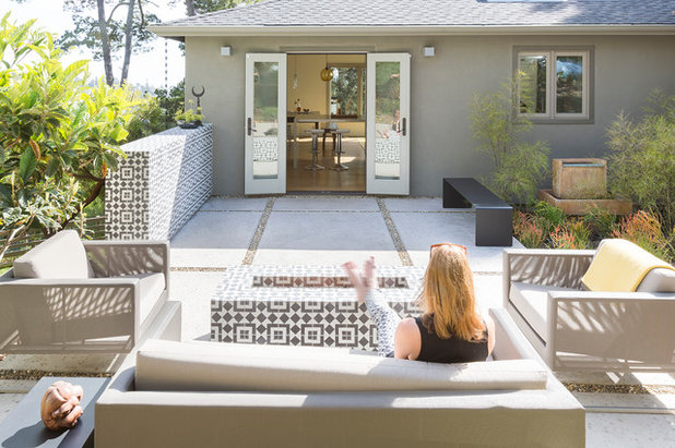 Transitional Patio by Tierney Conner Architecture
