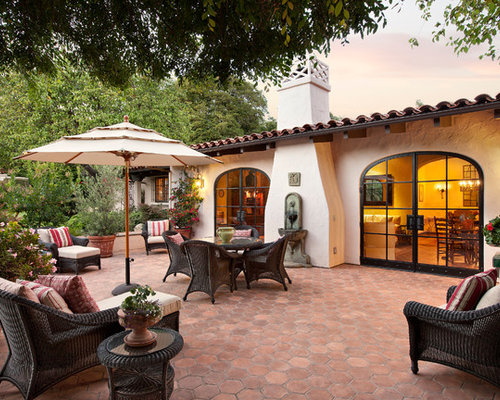 Inspiration For A Mediterranean Tile Patio Remodel In Santa Barbara