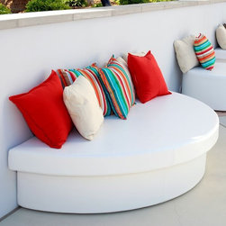 Moon Pad Outdoor Seating - Half-round Moon Pad is great in tight spaces.